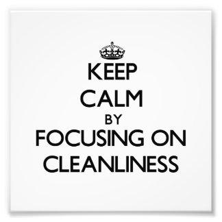 Guarde la calma centrándose en limpieza arte fotográfico