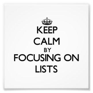 Guarde la calma centrándose en listas