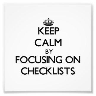 Guarde la calma centrándose en listas de control