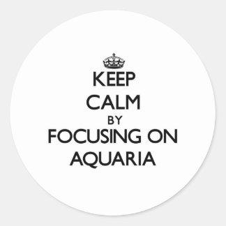 Guarde la calma centrándose en los acuarios pegatina redonda