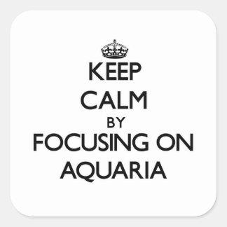 Guarde la calma centrándose en los acuarios colcomanias cuadradas personalizadas