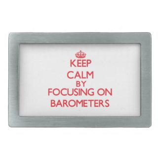 Guarde la calma centrándose en los barómetros hebilla cinturón rectangular