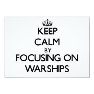 """Guarde la calma centrándose en los buques de invitación 5"""" x 7"""""""