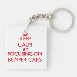 Guarde la calma centrándose en los coches de llavero cuadrado acrílico a doble cara