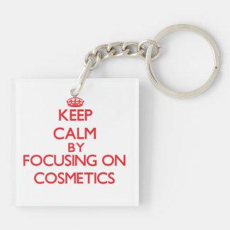Guarde la calma centrándose en los cosméticos llavero cuadrado acrílico a doble cara