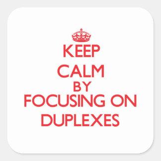 Guarde la calma centrándose en los duplex pegatina cuadradas personalizadas
