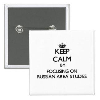 Guarde la calma centrándose en los estudios rusos pin cuadrada 5 cm