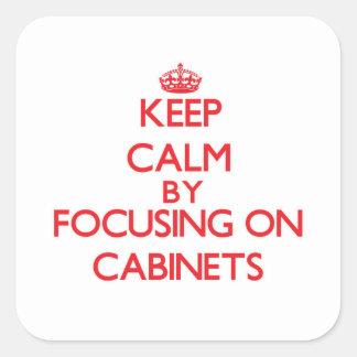 Guarde la calma centrándose en los gabinetes calcomania cuadrada personalizada