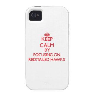 Guarde la calma centrándose en los halcones Rojo-A iPhone 4 Carcasas