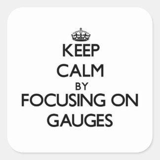 Guarde la calma centrándose en los indicadores pegatinas cuadradas personalizadas