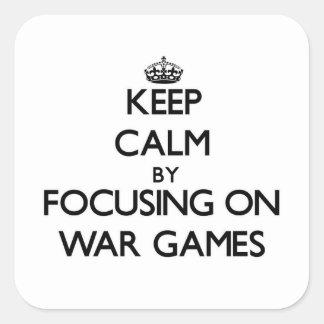 Guarde la calma centrándose en los juegos de calcomania cuadradas personalizadas