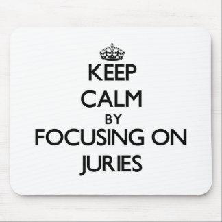 Guarde la calma centrándose en los jurados alfombrillas de ratón