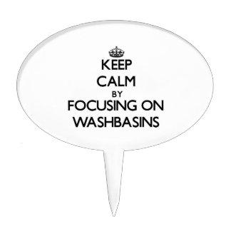 Guarde la calma centrándose en los lavabos figuras para tartas