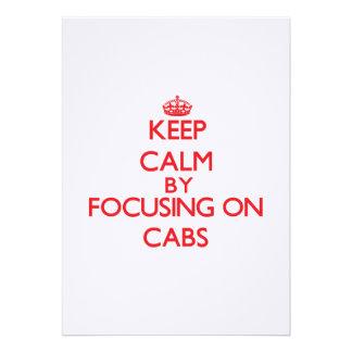 Guarde la calma centrándose en los taxis invitacion personal