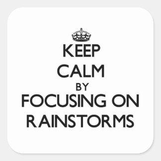 Guarde la calma centrándose en los temporales de pegatinas cuadradases personalizadas