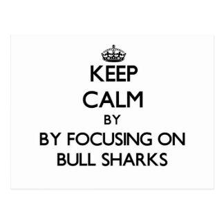 Guarde la calma centrándose en los tiburones de postal
