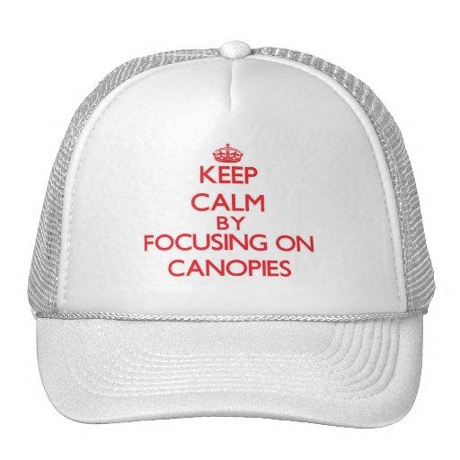 Guarde la calma centrándose en los toldos gorras de camionero