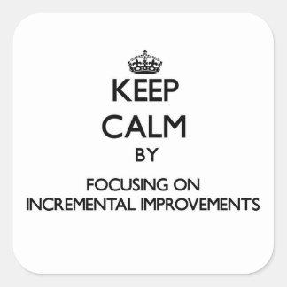 Guarde la calma centrándose en mejoras ampliadas calcomanía cuadradas personalizadas
