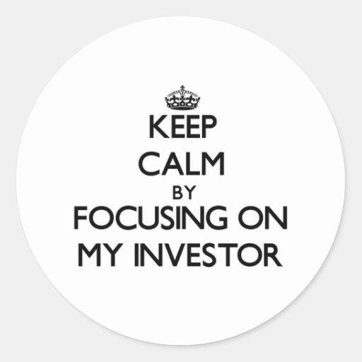 Guarde la calma centrándose en mi inversor pegatina redonda