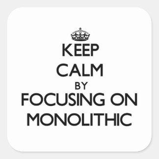 Guarde la calma centrándose en monolítico calcomanías cuadradas personalizadas