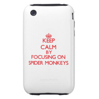 Guarde la calma centrándose en monos de araña iPhone 3 tough fundas