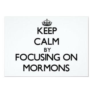 Guarde la calma centrándose en mormones invitación 12,7 x 17,8 cm