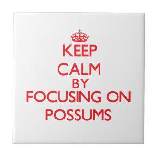 Guarde la calma centrándose en oposums azulejo ceramica