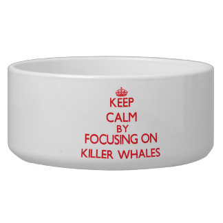 Guarde la calma centrándose en orcas tazon para perro