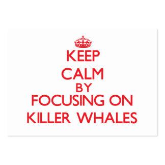 Guarde la calma centrándose en orcas tarjetas de visita grandes