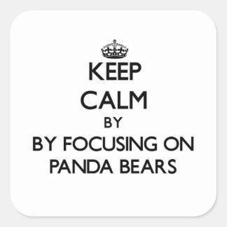 Guarde la calma centrándose en osos de panda calcomania cuadradas personalizadas
