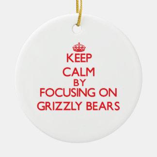 Guarde la calma centrándose en osos grizzly ornamento para arbol de navidad
