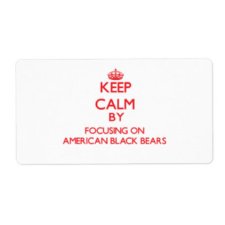 Guarde la calma centrándose en osos negros america etiqueta de envío