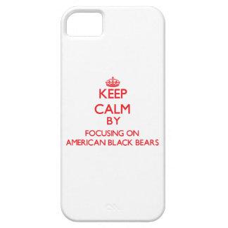 Guarde la calma centrándose en osos negros iPhone 5 cobertura