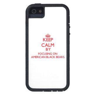 Guarde la calma centrándose en osos negros iPhone 5 fundas