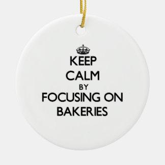 Guarde la calma centrándose en panaderías adorno de navidad