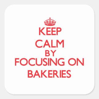 Guarde la calma centrándose en panaderías pegatina cuadrada