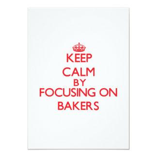 """Guarde la calma centrándose en panaderos invitación 5"""" x 7"""""""