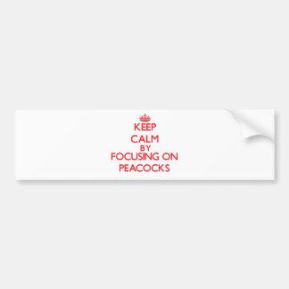 Guarde la calma centrándose en pavos reales etiqueta de parachoque