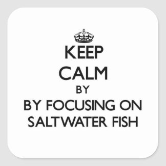 Guarde la calma centrándose en peces de agua pegatina cuadrada