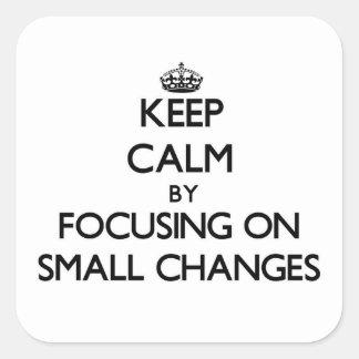 Guarde la calma centrándose en pequeños cambios pegatinas cuadradases personalizadas