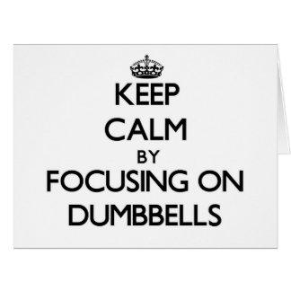 Guarde la calma centrándose en pesas de gimnasia tarjeta de felicitación grande