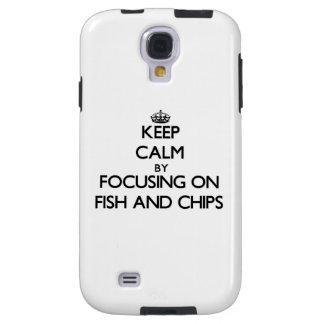 Guarde la calma centrándose en pescado frito con p