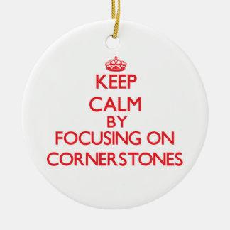 Guarde la calma centrándose en piedras angulares adorno de navidad