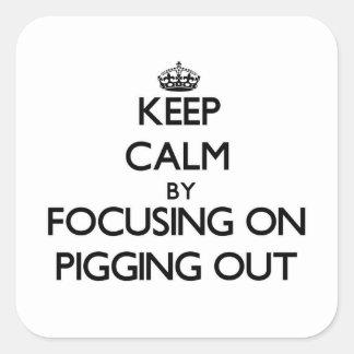 Guarde la calma centrándose en Pigging hacia fuera Pegatina Cuadrada