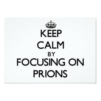 """Guarde la calma centrándose en priones invitación 5"""" x 7"""""""