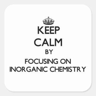 Guarde la calma centrándose en química inorgánica pegatinas cuadradases