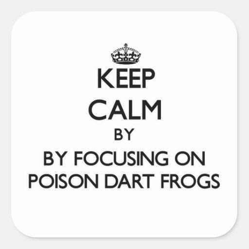 Guarde la calma centrándose en ranas del dardo del calcomanía cuadradase