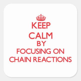 Guarde la calma centrándose en reacciones en pegatinas cuadradases