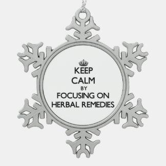 Guarde la calma centrándose en remedios herbarios adorno