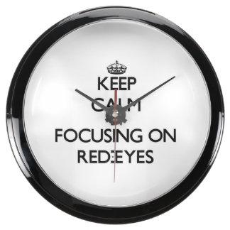 Guarde la calma centrándose en Rojo-Ojos Relojes Pecera